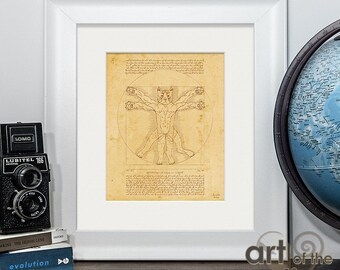 Purrtruvian Cat print - inspired by Vitruvian Man by Leonardo Da Vinci, a great gift for cat lovers or as a piece or art for any home