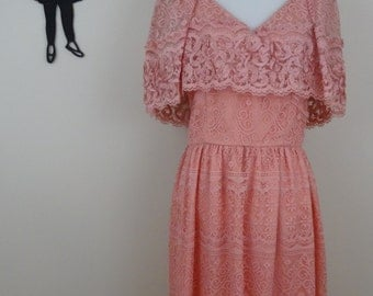 Vintage 1970's Lace Bohemian Dress / 70s Prarie Day Dress S/MD  tr