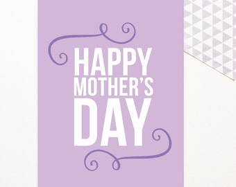 Mother's Day Card - Happy Mother's Day - Purple - Cute Modern Fun - 5x7