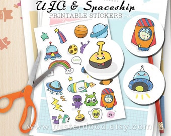 UFO Printable Sticker, Spaceship Planets Aliens Stars Astronomy, Cute Kawaii Doodle Clipart, Scrapbook Montage Collage Planner Diary Journal