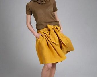 Linen skirt with belt/ Linen flax skirt with pockets/ Women linen elegant skirt/ Summer flax skirt/ Elegant skirt with side pockets and belt