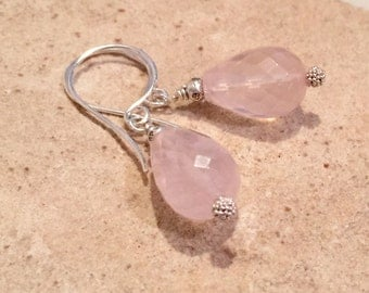Pink drop earrings, rose quartz dangle earrings, rose quartz earrings, Hill Tribe silver earrings, sundance style earrings, gift for her