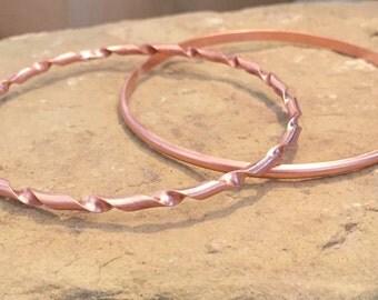 Copper bangle bracelets, half round bangle bracelet, twisted bangle bracelet, stackable copper bracelets, stackable bangles, gift for her