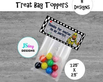 FNaF Treat Bag Topper, Five Nights at Freddy's Party Supplies; favor tag, gift bag Topper; Boy Party; FNaF Invite; Toppers; goody; gift