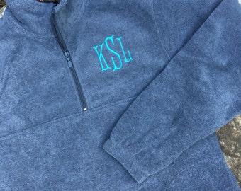 Monogrammed Fleece Pullover – Half Zip Fleece- Quarter Zip Fleece – Personalized – Monogrammed Jacket - Gray - Monogram fleece