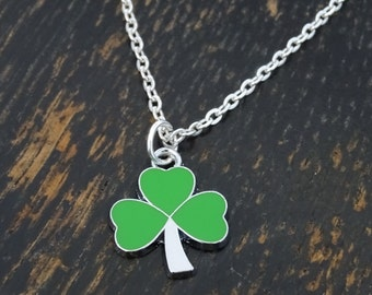 Shamrock Necklace, Shamrock Charm, Shamrock Pendant, Shamrock Jewelry, Clover Necklace, Three Leaf Clover, St Patricks Day, Clover Leaf