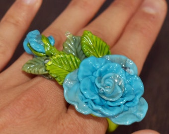 rose ring flower rings . Glass ring for women. Blue Flower jewelry. Floral jewelry. Big rings
