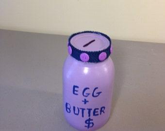 Redneck Bank, Egg And Butter Money Bank, Joke Gift,  Distressed Mason Jar, Spare Change, Friendship Gift, Reclaimed Mason Jar, Joke Gift,