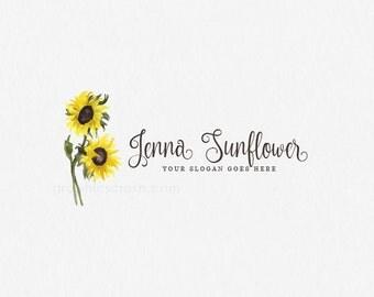 Sunflower Logo Watercolor Sunflower Logo Watercolor Photography Logo Blog Logo Design Watercolor Flower Logo