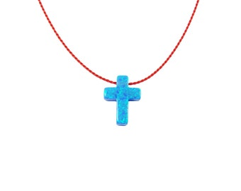 Cross Necklace. Opal Cross Pendant Necklace Red cord.