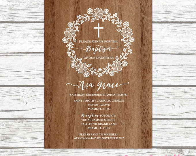 Wood Rustic White Lace Wreath Floral Baptism Christening Invitation, Girl First Communion Boho Vintage Cross Invite, Printable Invitation