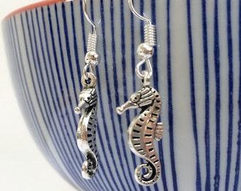 Seahorse Dangle Earrings Pair Silver Sterling Hooks