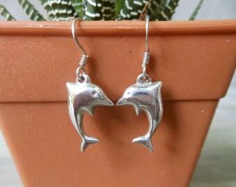 Cool 3D Aquatic Marine Spinner Dolphin Drop Earrings With 925 Sterling Silver & Ear Hook,Animal Drop Earrings,Pierced Earring,Gifts For Her