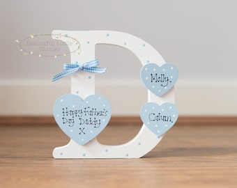 Personalised Letter D Dad Daddy Fathers Day Birthday Gift Any Colour Added Name Hearts x3