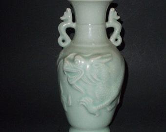 Chinese Green Celadon, Glazed Porcelain Vase with Dragon