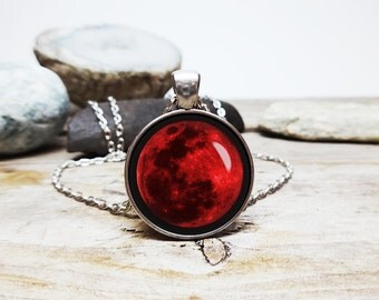 Blood Moon Necklace Blood Moon Pendant Wolf Necklace werewolf necklace astrology jewelry planet series necklaces Planet jewelry
