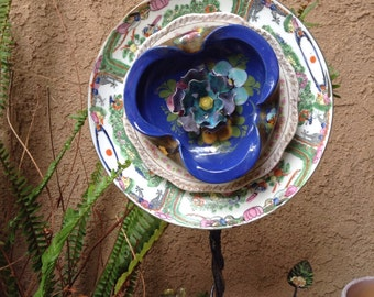 Glass flower // Glass flower plate  // Vintage plates // Yard recycled art //steampunk yard