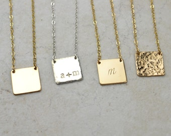 Personalized Square Initial Necklace, Sterling Silver, Gold filled, Rose Gold, Delicate Necklace, Bridesmaid Gifts, Mothers Day Gift