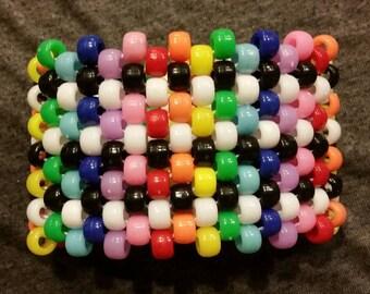 Rainbow and Black and White Kandi Cuff Bracelet