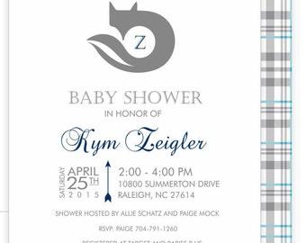 Fox themed baby shower invitation, envelope and matching custom logo