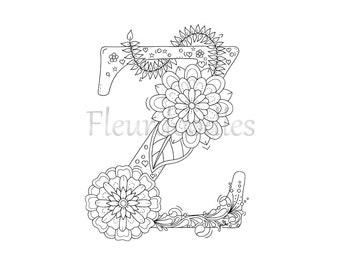 adult coloring page floral letters alphabet S by Fleurdoodles