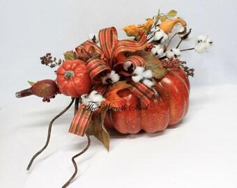 Pumpkin Centerpiece, Thanksgiving Table Centerpiece, Natural Cotton Bolls, Cotton Centerpiece, 2nd Anniversary, Fall Cotton Decor, Ship Free