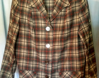 1950's wool plaid Pendelton jacket in very good condition, size med/large