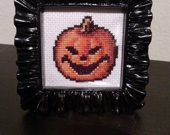 Framed Pumpkin Cross Stitch