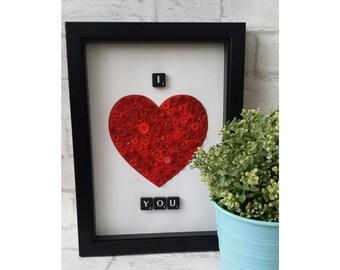 Button Art Frame - Love Heart - Scrabble Art - Scrabble Frame - Scrabble Gift - Personalised Frame - Valentines Gift