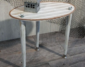 Superior Weathered Wood Table   Cottage Table   Small Porch Table   Oval Lakeside  Decor   Nautical