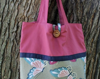"""Butterfly Reversible Tote Bag 17""""x18"""""""