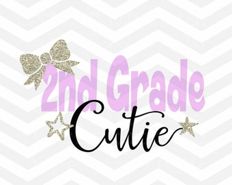 Second Grade SVG Cutting File, 2nd Grade SVG, Back To School, School Day, Silhouette Cricut Cameo, PNG dxf Jpeg, Bow, Sparkle, Star