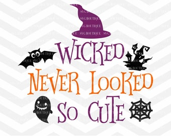 Halloween SVG File, Ghost SVG File, Baby Girl Cut File, Trick Or Treat, Witch SVG, Halloween Cut File, Cricut, Silhouette, Bow, Ghost Bat