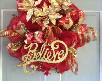 Christmas Holiday Red and Gold Believe WREATH with Gold Berries and Poinsettias