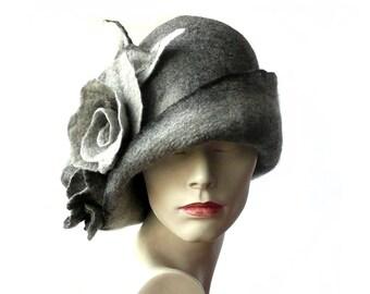 SALE-15% ! Grey Felted  Hat felt hat Cloche Hat Flapper 1920 Hat Art  Gray Hat Cloche Victorian 1920's  Wool Women's hat