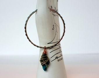 Alaska - Wire Wrapped Stone Bangle - Blue Dipped Stone