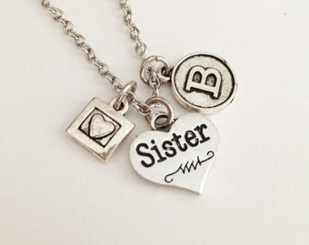Sister necklace - initial necklace - hearyt necklace - friendship necklace - girlfriend gift