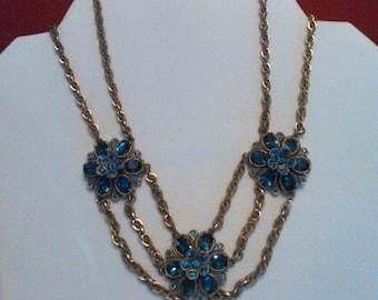 Blue rhinestone festoon necklace - 1950s bling!