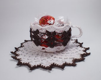 Crochet cups. Crochet cup and saucer. Crochet candy dish. Crochet detail events