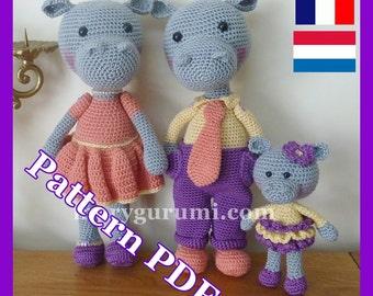 Crochet Pattern, pattern, tutorial, Amigurumi Hippo family