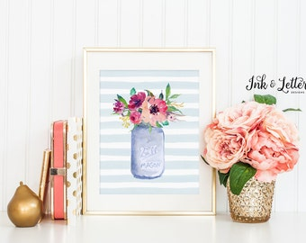 Watercolor Flower Print - Spring Wall Decor - Mason Jar Decor - Floral Decor - Spring Wall Art - Instant Download - Digital Printable - 8x10