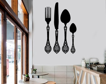 Wall Vinyl Decal Kitchen Utensils Ornaments Awesome Decor for Kitchen and Restaurants (#1040da)