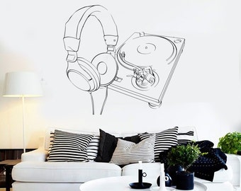 Wall Vinyl Music Headphones Turntable DJ Guaranteed Quality Decal Mural Art 1561dz