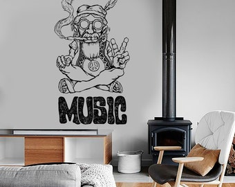 Wall Vinyl Hippie Music Marihuana Weed Smoking Mural Art 1600dz