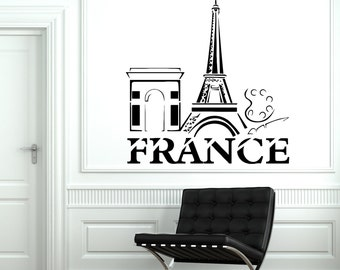 Wall Decal Paris France Eiffel Tower French Building Vinyl Decal Sticker 1826dz