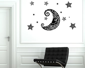 Wall Decal Moon Stars Space Ornament Tribal Mural Vinyl Decal Nursery 1888dz
