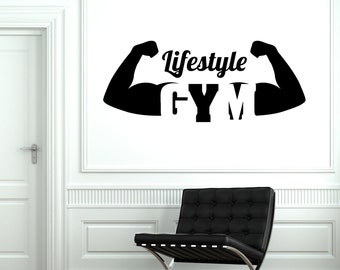 Wall Vinyl Decal Gym Lifestyle Fitness Bodybuilding Decor 1923di