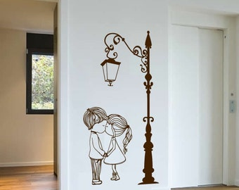 Cute Couple with Lamp Post Wall Sticker, Wall Art, Vinyl Wall Decal