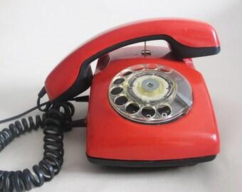 Antique Rotary Phone, Soviet Vintage Red Rotary Telephone, Retro Home Phone