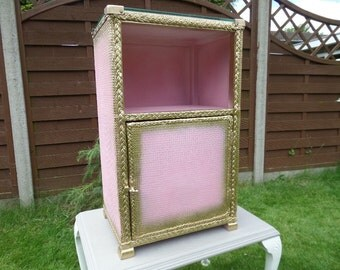 "Lloyd Loom Bedside Cabinet, 1930's Night Stand Glass Top, Pink & Gold Cupboard, Bathroom Cabinet, Gold Spray, 25"" x 15"" x 11"
